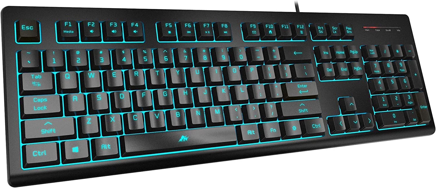 Powzan Light Up Quiet Gaming Keyboard - Membrane Silent Wired Keyboard with Low Profile Lighted Key for Computer, Windows PC Gamer - Full Size, Black