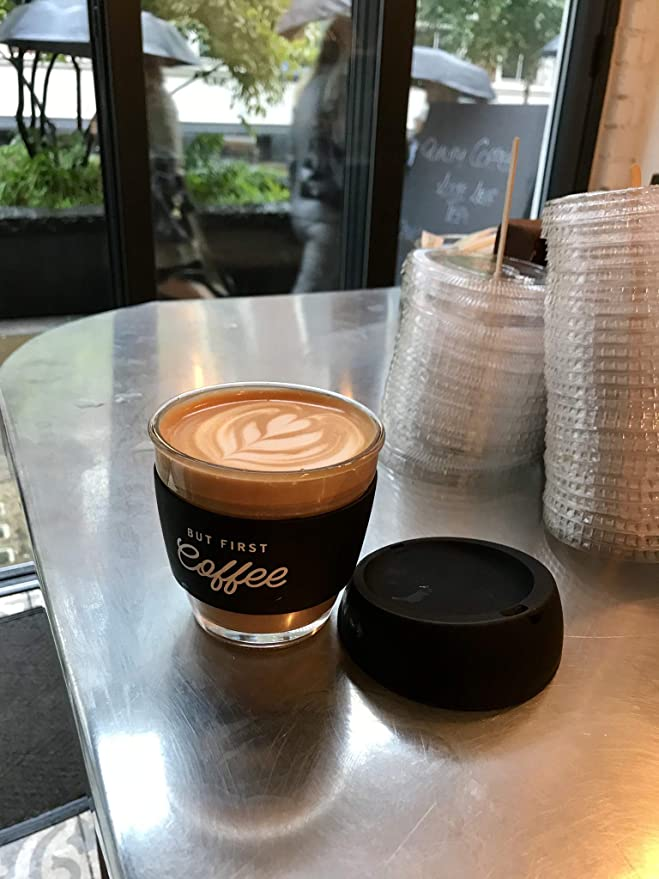 But First Coffee Reusable Glass Cup 8oz 230ml Flat White