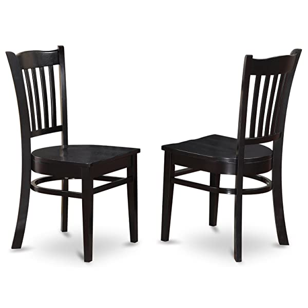 East West Furniture GRC-BLK-W Dining Chair Set with Wood Seat, Black Finish, Set of 2