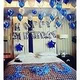 ハッピーバースディ飾り物 誕生日パーティインテリア バルーン装飾セット (ブルー+ホワイト)