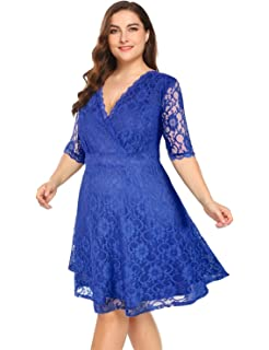 8055265325ef4 Women Plus Size Lace V Neck Short Formal Wedding Party Cocktail Dress with  Pockets