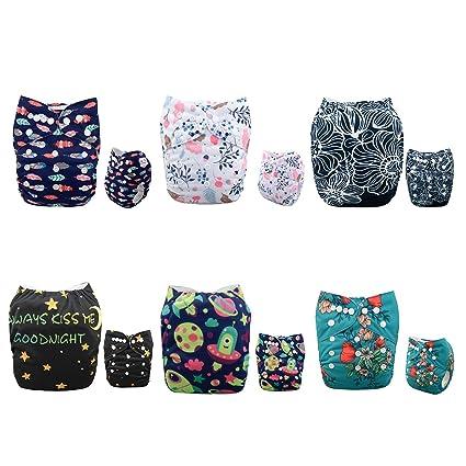 Alva Baby - Pañales de tela reutilizables (6 unidades), lavables,