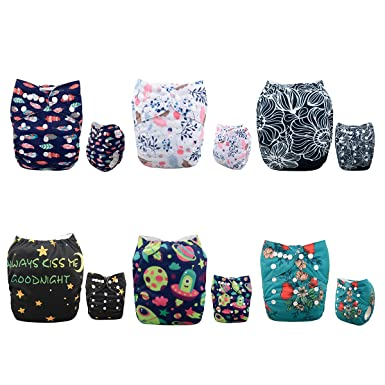 Alva Baby Reuseable Washable Pocket Cloth Diaper Infants Gift Sets 6 Nappies + 12 Inserts 6DM44