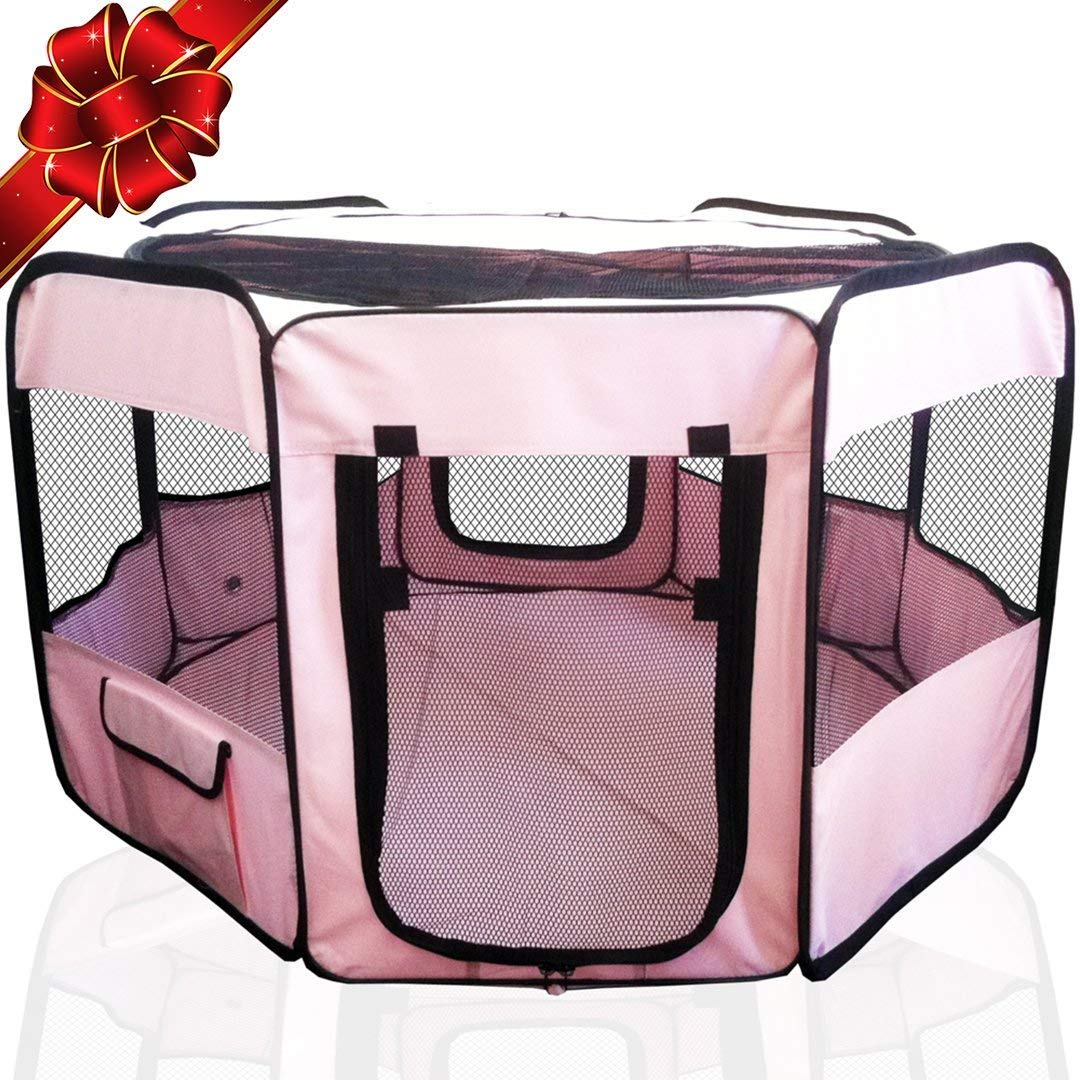 """ToysOpoly #1 Premium Pet Playpen – Large 45"""" Indoor/Outdoor Cage. Best Exercise Kennel for Your Dog, Cat, Rabbit, Puppy, Hamster or Guinea Pig. Portable Fabric Pen for Easy Travel (Light Pink)"""