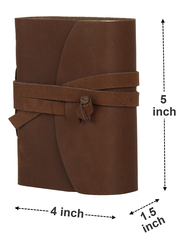 Petit, Marron Rustic Town Carnet de Notes en Cuir Notebook Blank Agenda Cahier Corde Vintage Diary Journal Intime