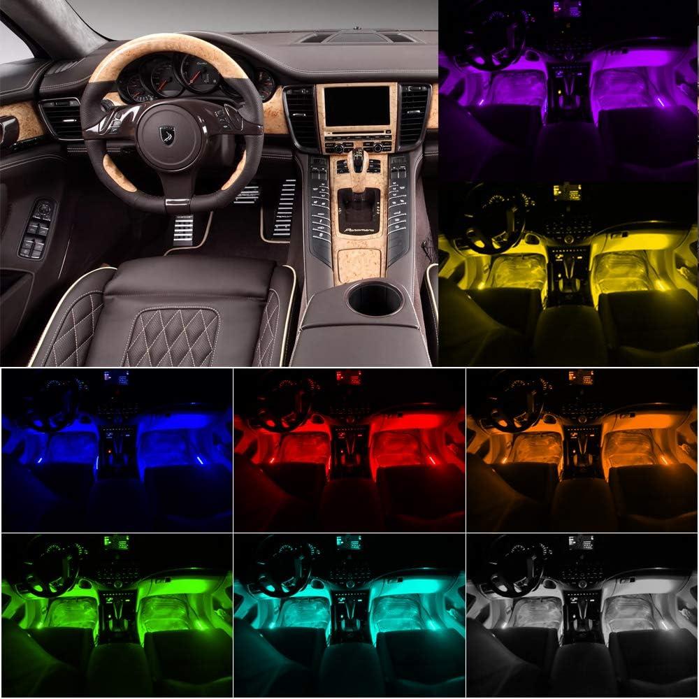 Auto LED Innenbeleuchtung wasserdicht mehrfarbig 4x12 LED Innenbeleuchtung Atmosph/äre Licht RGB Auto Innenraumbeleuchtung mit Remote Control und APP mit Zigarettenanz/ünder