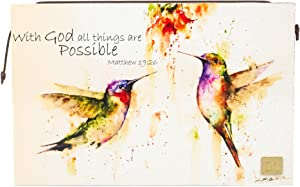 DEMDACO Dean Crouser With God All Things Hummingbird 10 x 6.5 Wrapped Canvas Inspirational Wall Art Plaque
