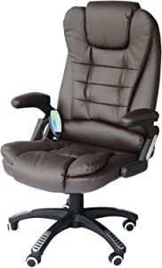 HomCom PU Leather High Back Executive Heated Massage Office Chair - Dark Brown