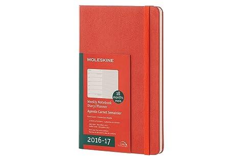 Moleskine DHF1618WN3Y17 - Agenda semanal 18 meses, L 13 x 21, color naranja coral