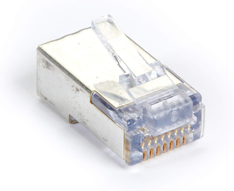 Black Box Cat5e EZ RJ45 Modular Plug Connector-Shielded TAA 50-Pack
