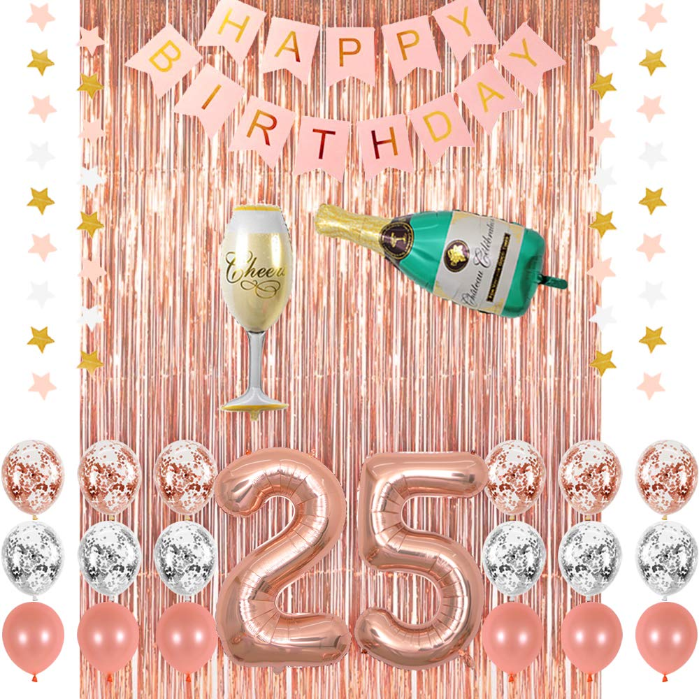 Rose Gold 25 Birthday Party Decorations Supplies, Champagne Balloon, Pink Happy Birthday Banner, 25 Balloons,Rose Gold Foil Fringe Curtains,Confetti Balloons for 25th Birthday Decorations for Her