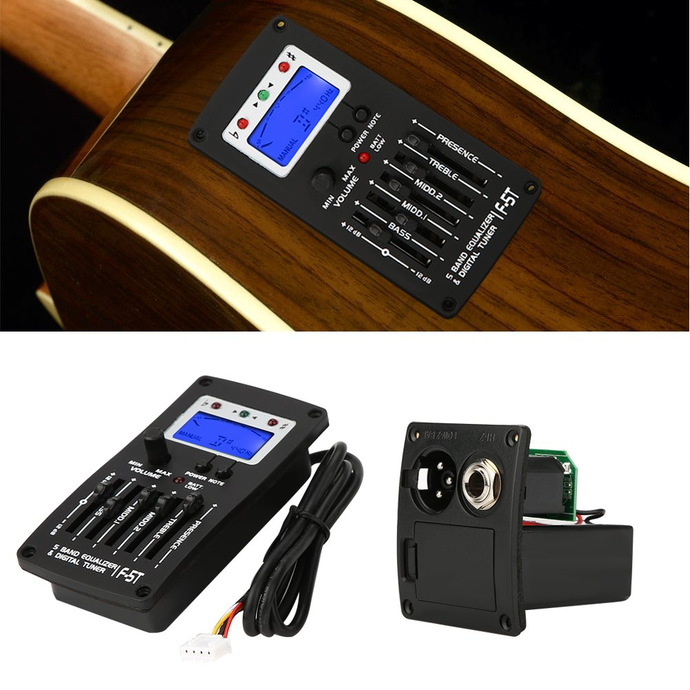 F-5T 5Band Equalizer Pickup,Digital Tuner Pickup Acoustic Electric Guitar Preamplifier Tuner with LCD Tuner and Volume Control for Electric Acoustic Classic Guitar