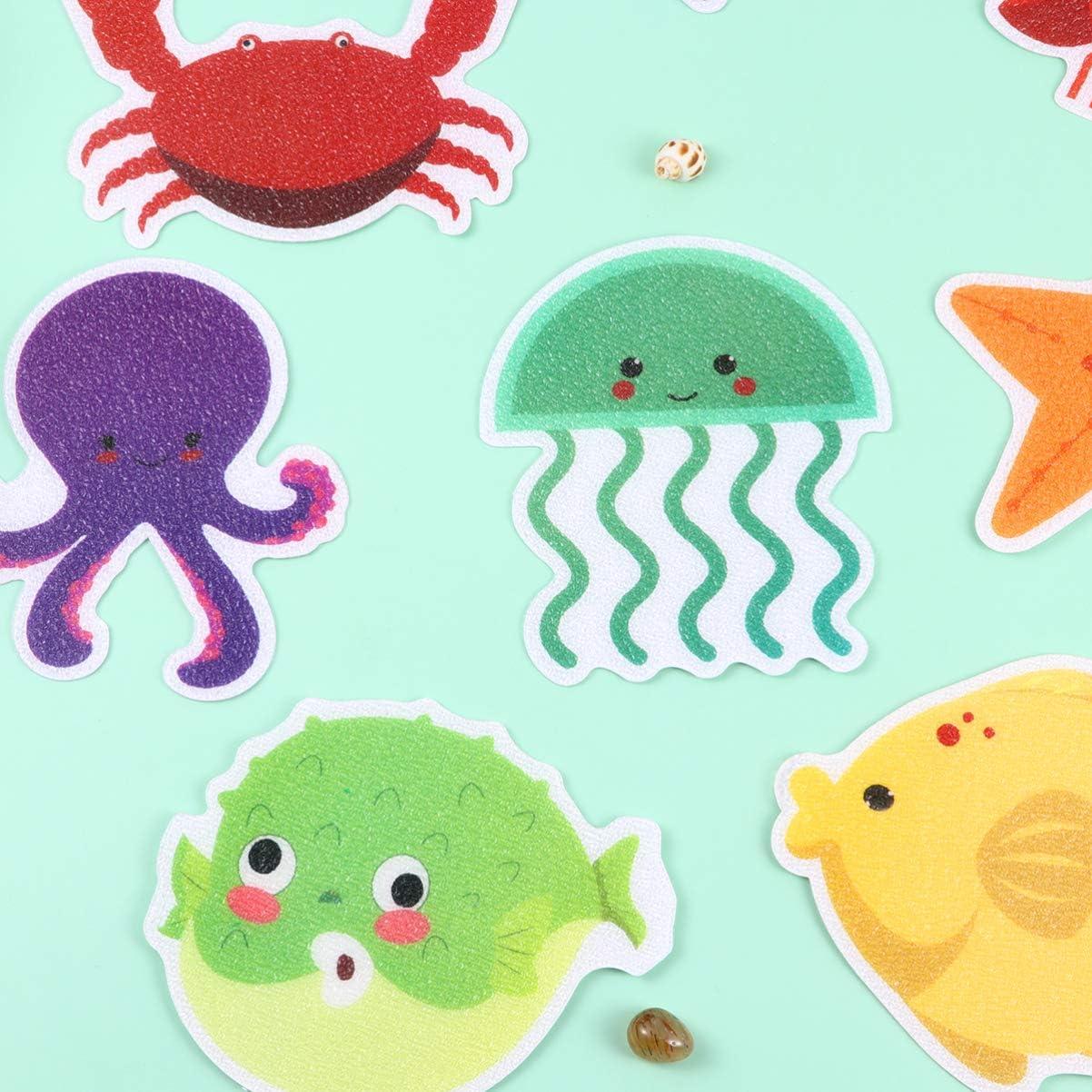 TOPBATHY Bathtub Stickers Non Slip Shower Treads Adhesive Appliques Clownfish Sea Creature Shower Strips Cartoon Prevent Slippery Surfaces Bathroom Toilet 20pcs