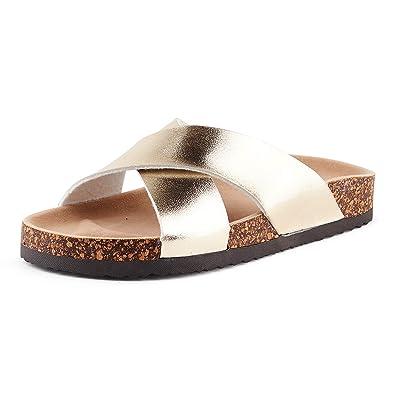 9d9b61da7cc7f7 Fusskleidung Damen Pantoletten Metallic Schlappen Glitzer Komfort Sandaletten  Sandalen Zehentrenner Gold EU 36