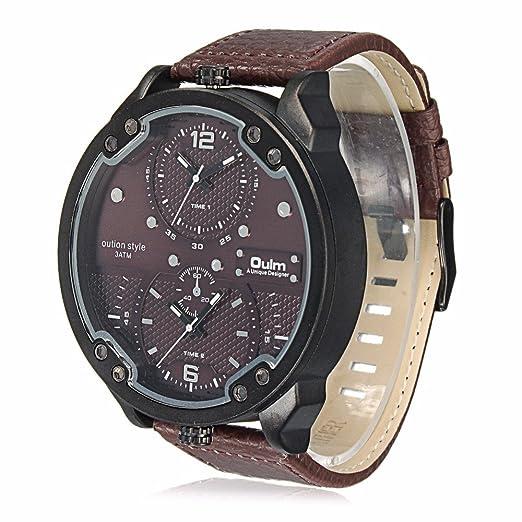 Marca Oulm 3548 M doble tiempo zona deportes relojes hombres marca de lujo piel sintética Big Reloj de pulsera Masculino reloj de cuarzo relojes hombre: ...