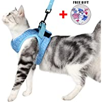 Cat Harness and Leash Set for Walking 360° wrap-Around Small Cat and Dog Harness Cushioning and Anti-Escape Suitable for Puppies Rabbits with Cationic Fabric
