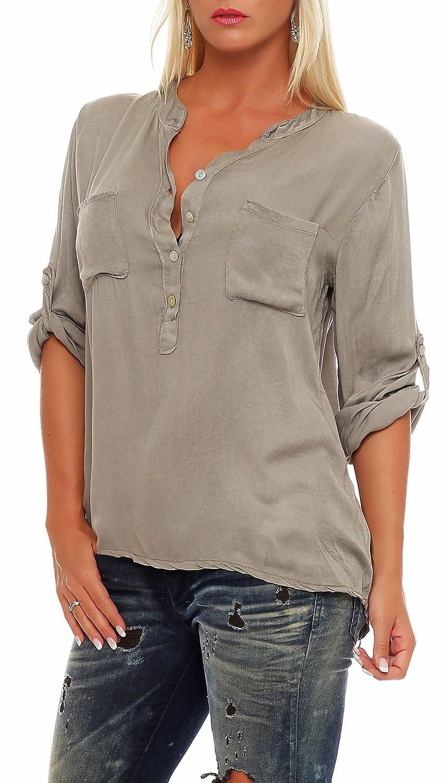 Malito dam blus med knappflik | tunika med ärmar | blusskjorta också lång ärm bärbar | Elegant – tröja 9015 Fango