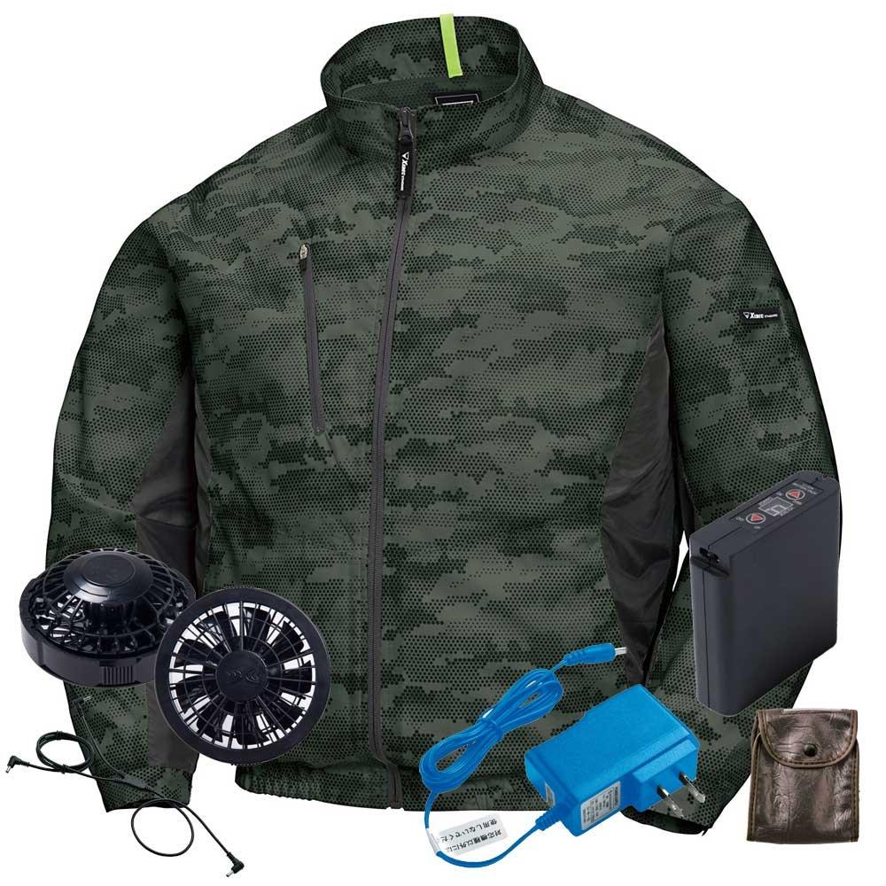 ジーベック 空調服 迷彩長袖ブルゾンファンバッテリーセット XE98005ファンのカラー:ブラック B07BJZM5VD M|62アーミーグリーン 62アーミーグリーン M