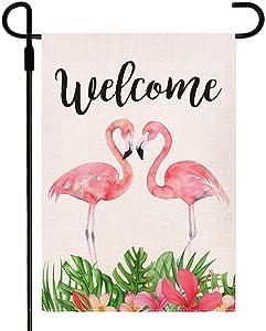 Doncida Welcome Flamingo Garden Flag Double Sided Watercolor Painting Garden Flag, Burlap Yard Flag Seasonal Summer Outdoor Decoration 12.5 x 18 Inch