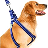 CoolPets Dog Harness Leash, Metal Clip Instead of the Usual Plastic, 2 Layers Soft Fabric, #1 Stop Pulling Choke Free Harness with Reflective Strip