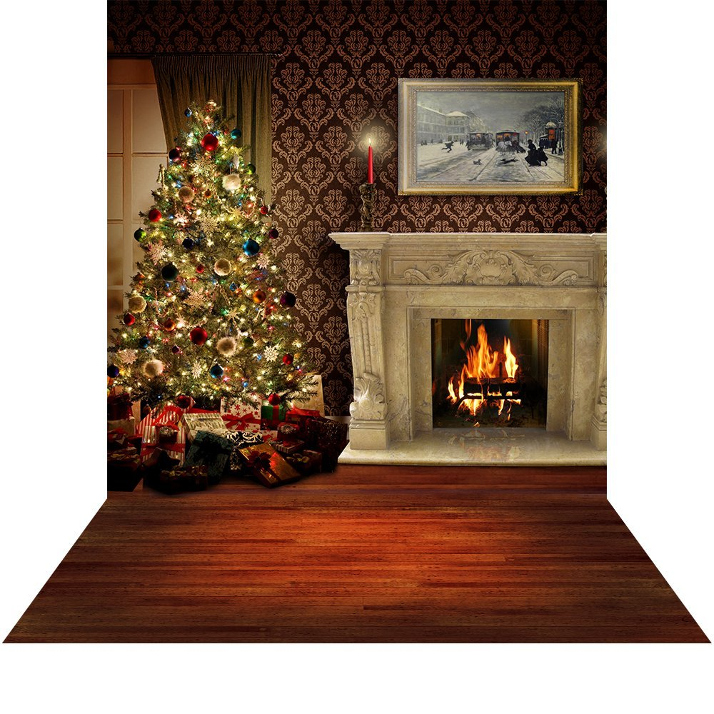 クリスマスフォトブースBackdrop with床 – Holiday Fireside – 10 x 20 ft。シームレスなファブリック   B015P4V8DI