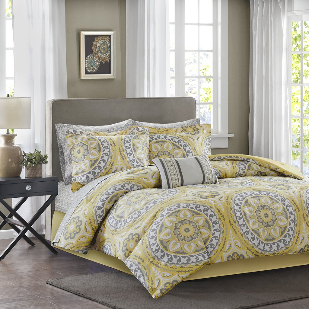 Madison Park Essentials Serenity Twin Size Bed Comforter Set Bed In A Bag - Yellow, Medallion – 7 Pieces Bedding Sets – Ultra Soft Microfiber Bedroom Comforters