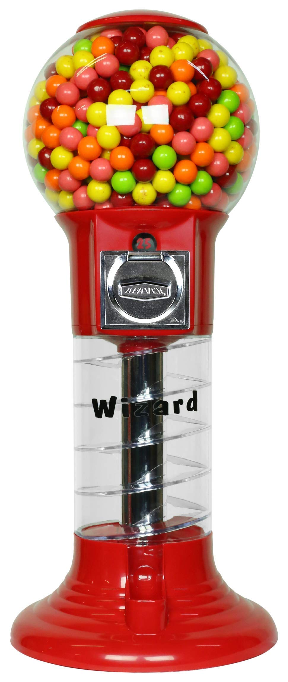 Spiral Gumball Machine Lil Wizard 27 inch - set up for $0.25 - Gumballs 1 inch - Toys in Round Capsules - 1'' Bouncy Balls 25 mm - Red Vending Gum Machine - Great Gift for Kids