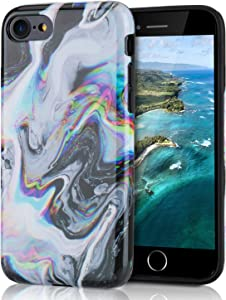 Protective Case for iPhone 8, Raised Edge Light Weight Thin Flexible Soft TPU Glossy Silicone Phone Cover for iPhone 7 / iPhone 8 / iPhone SE2 - Colorful Abstract Liquid on Black Background
