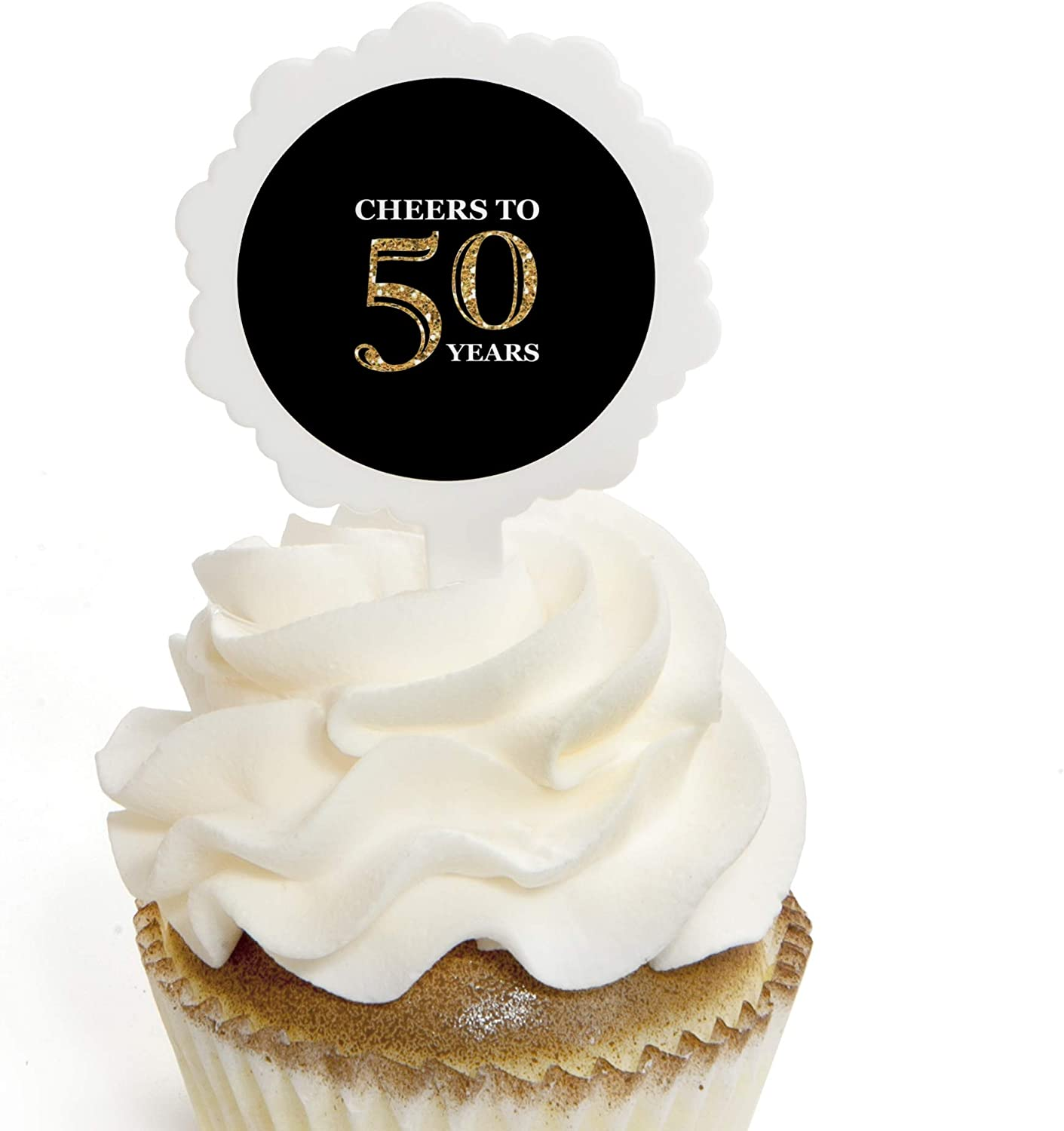 Birthday Party Cupcake Toppers 12 Count Gold Adult 50th Birthday Cupcake Picks with Stickers