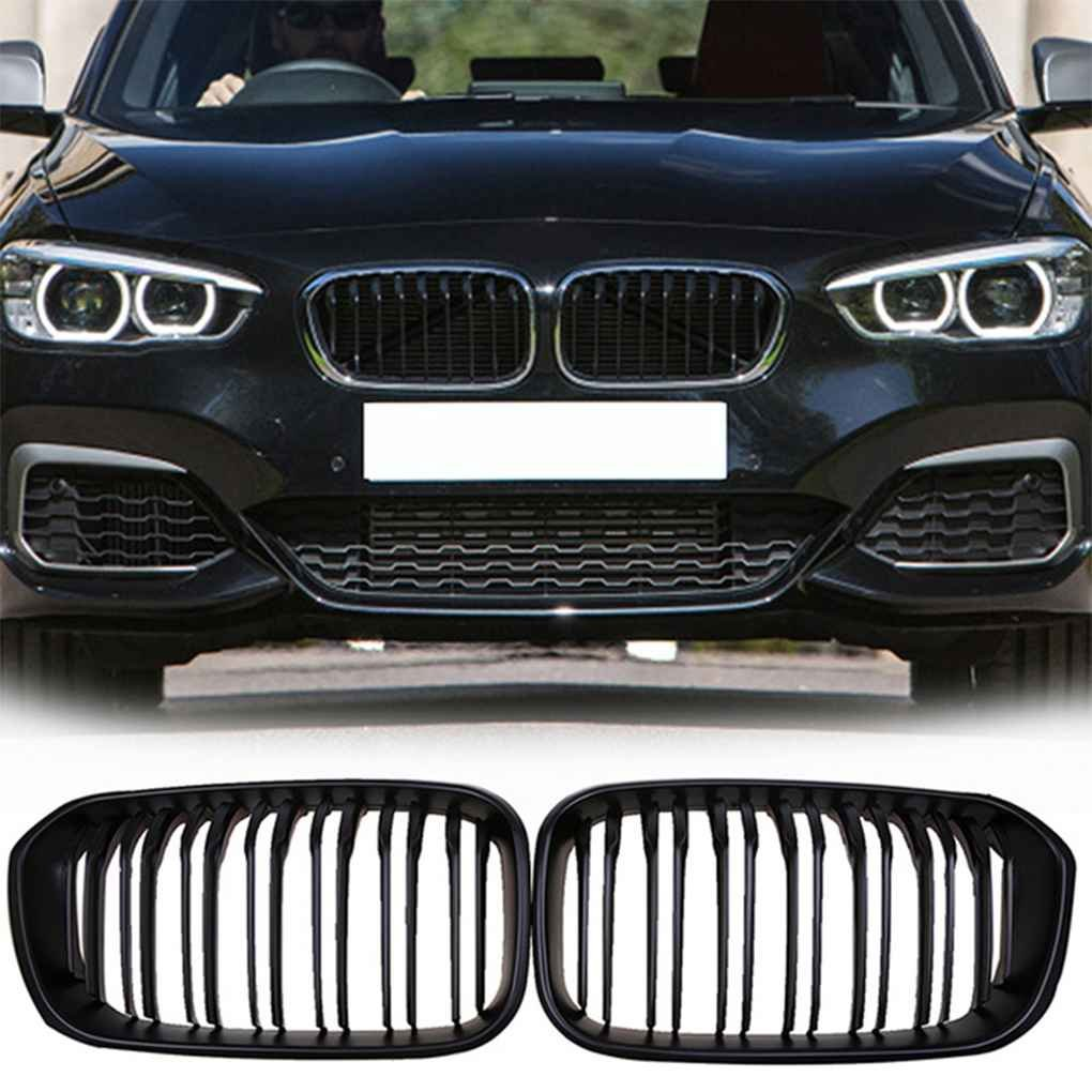 Ruiboury 1 Pair Front Grills for BMW 1 Series F20 2015-2017 Matte Black Double Slats Front Kidney Grille Car Style Mesh Grills