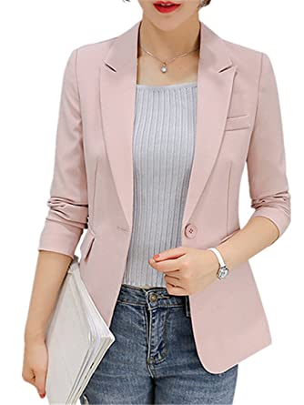 Rising On New Arrivals Blazer Sleeve Long Business Office Suit Pink