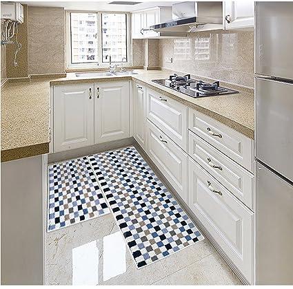 Ukeler Kitchen Rug Set,kitchen Floor Rug Plaid Kitchen Rug Runner Washable  Non Slip