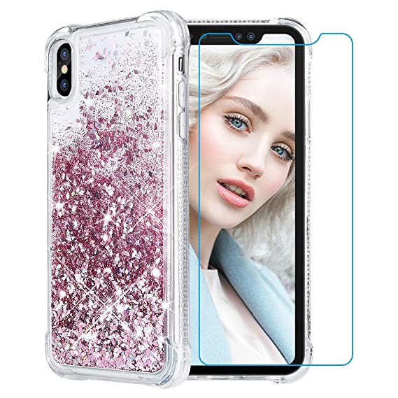 purchase cheap 6ec7c f3fda Maxdara Case for iPhone XS Max Glitter Case 6.5 inch [Tempered Glass Screen  Protector] Floating Liquid Luxury Sparkle Bling Shockproof Protective ...