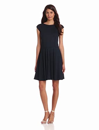 Eliza J Women's Sleeveless Fit and Flare Ponte Dress, Navy, 6