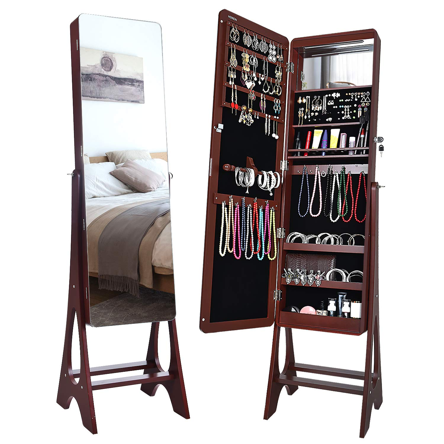 HERRON 14 LEDs Jewelry Cabinet, Lockable Free Standing Jewelry Armoire with Full Length Mirror, Large Capacity Jewelry Organizer for Women to Store Jewelry,Brown