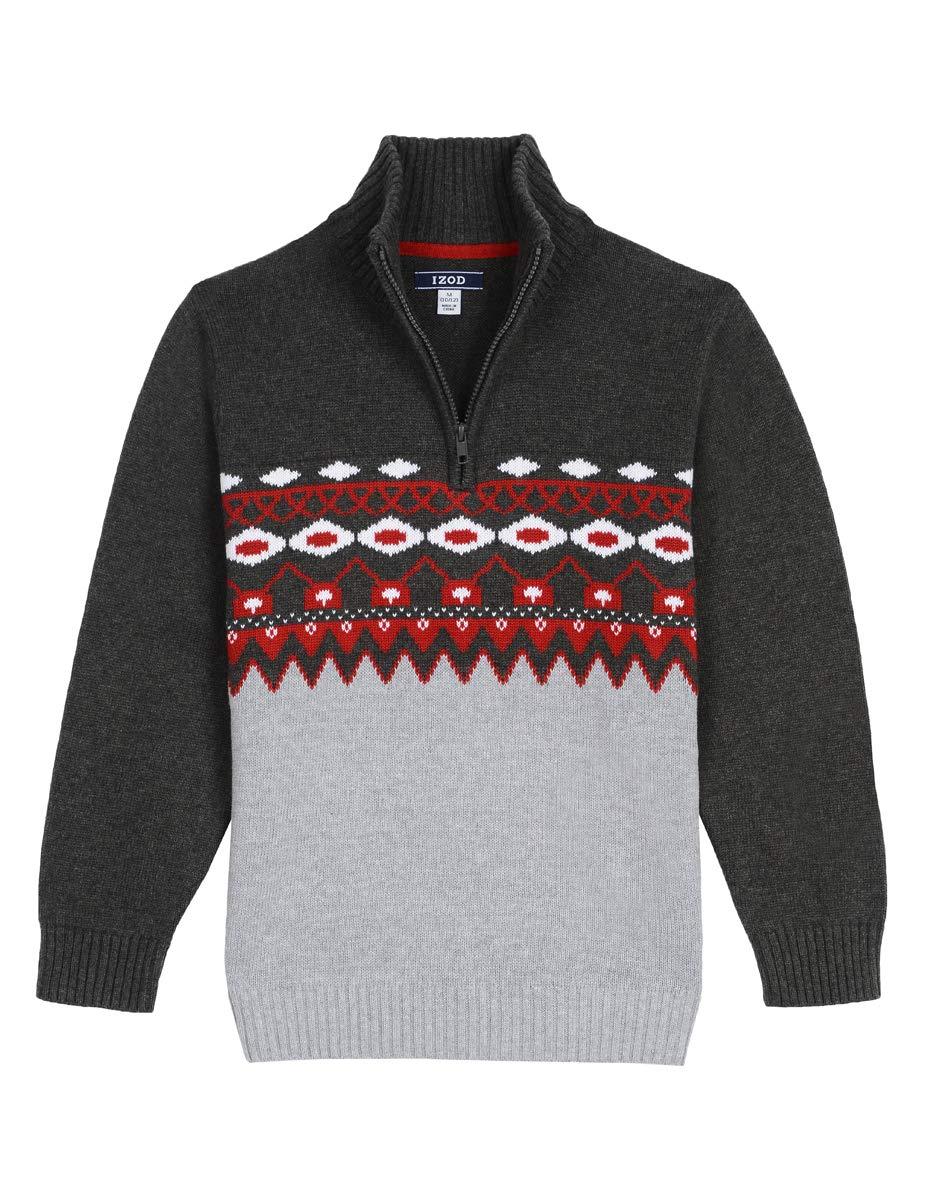 IZOD Boys Half Zip Sweater, Roasted Rouge, Large (14/16)