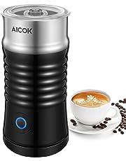 Aicok Espumador / Batidor de leche Eléctrico, Vaporera de leche de doble pared de Acero Inoxidable, Calentador y Espumado para café, latte, cappuccino