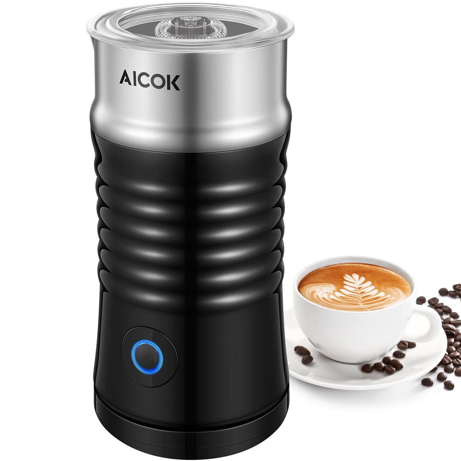 Aicok Milk Frother, Double Wall Electric Milk Steamer with Strix Controller, Silent Operation, Non-Stick Coating, Milk Warmer for Coffee, Latte, Cappuccino, Black