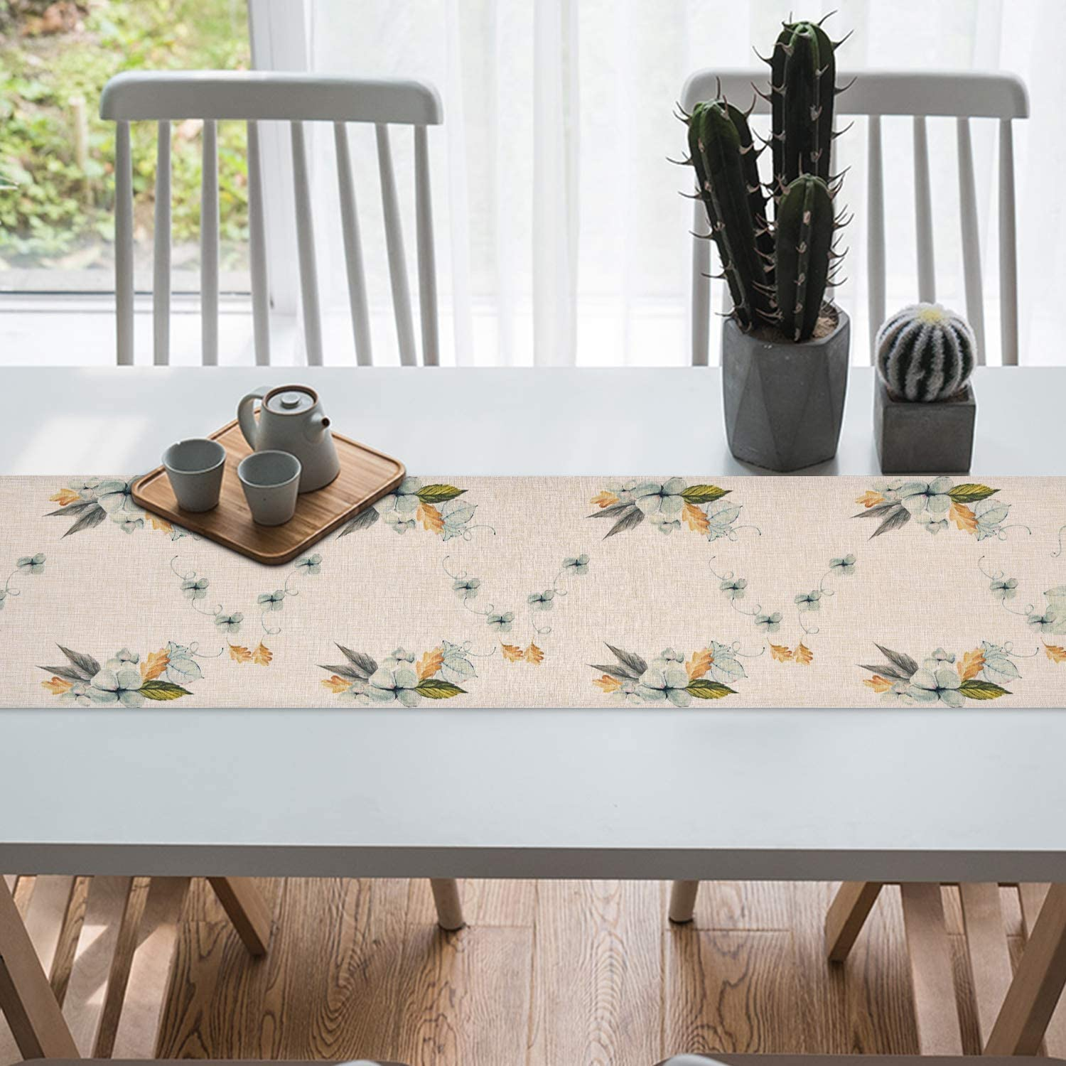 Wedding Smurfs Yingda Pumpkin Autumn Leaves Table Runner Watercolor Table Runner for Thanksgiving Day Dinner Parties 14 /× 70 inches Autumn Fall Indoor and Outdoor Parties Catering Events