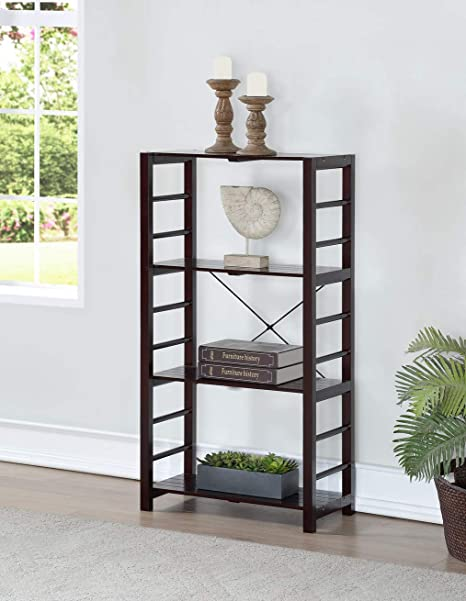 EHomeProducts Espresso Finish Solid Wood Frame 4 Tier Bookshelf Bookcase Display Shelf Kitchen With Slat