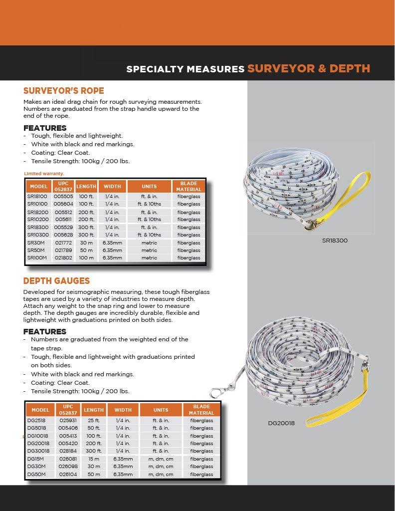 Keson SR100M Surveyors Rope 100-Meter Graduations: Metric