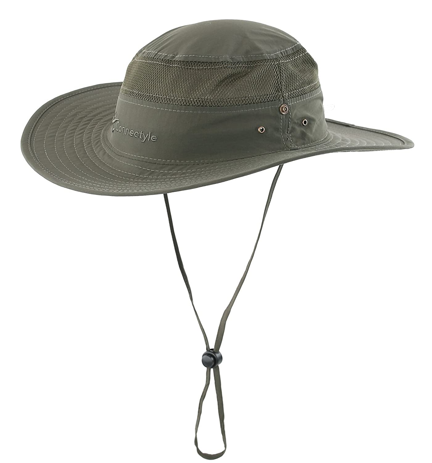 47d11a424476e Amazon.com  Connectyle Outdoor Mesh Sun Hat Wide Brim Sun Protection Hat  Summer Fishing Hunting Hiking Gardenig Hat Army Green  Clothing