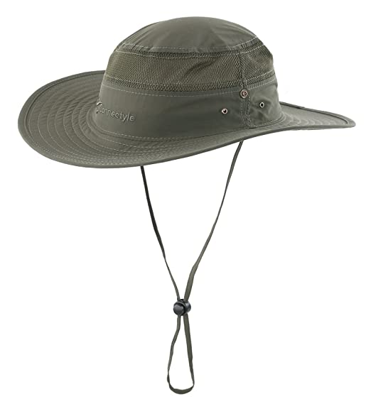 Connectyle Outdoor Mesh Sun Hat Wide Brim Sun Protection Hat Summer Fishing  Hunting Hiking Gardenig Hat d192b515fc50