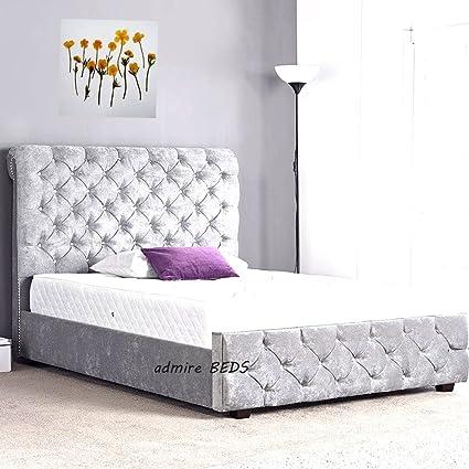 Alina calidad tapizado Chesterfield trineo marco de la cama en tela ...