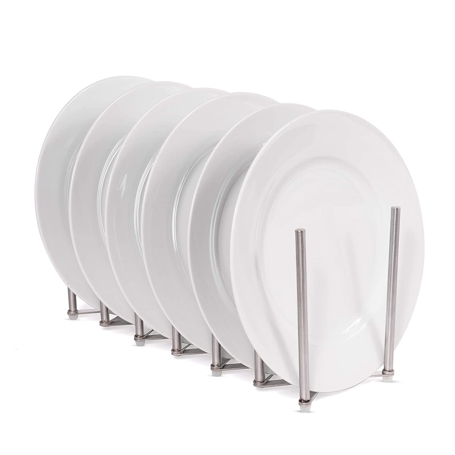 Can Be Extended to 24 Can Be Extended to 24 COMIN16JU034290 6 Sectional Adjustable Length Accordion Style brightmaison Kitchen Pot Lid Plate Holder Rack Stainless Steel