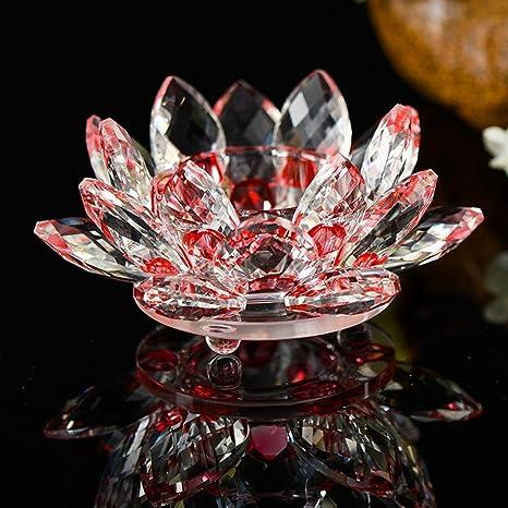 Portavelas De Cristal Igemy De 7 Colores Con Diseño De Flor De Loto