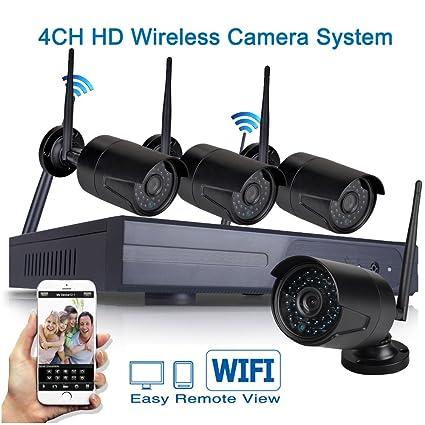 Icami HD 720P Wifi de seguridad conjuntos de instalación 4 CH NVR inalámbrica sistema de supervisión ...