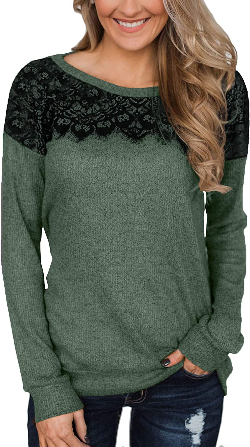 For G and PL Womens Black Lace Top Long Sleeve Elegant Sweatshirt