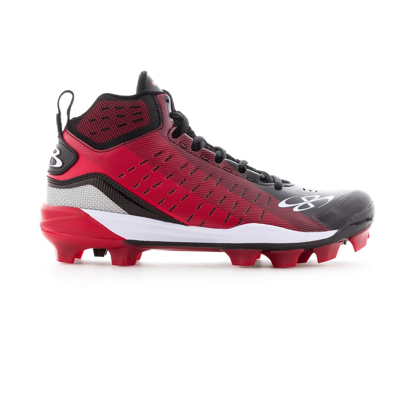 Boombah Men's Catalyst Molded Mid Cleats - 8 Color Options - Multiple Sizes B07B1HMLJ7 6.5 Black/Red