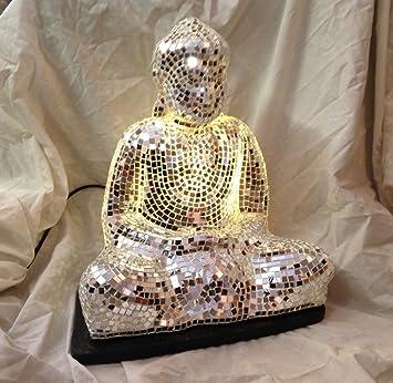 Buddha Table Lamp   Thai Buddha Cross Legged Silver Mosaic Glass Table Lamp  (LMOS